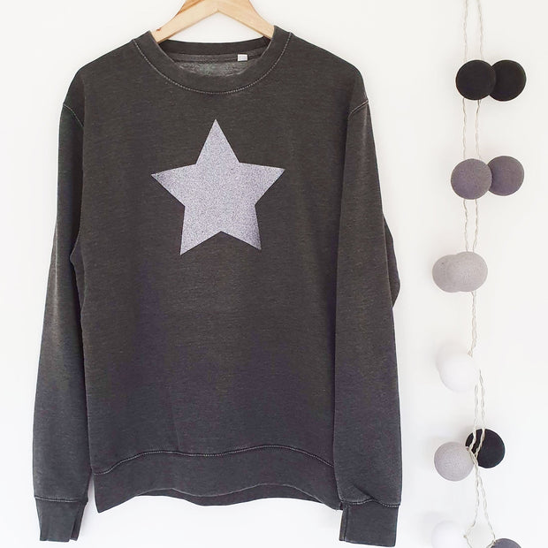 SAMPLE SALE - Glitter Star Faded Boyfriend Sweat - Washed Black/ Grey Glitter