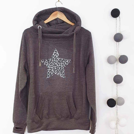 Leopard Star Cross Over Neck Heavyweight Hoodie - CHARCOAL