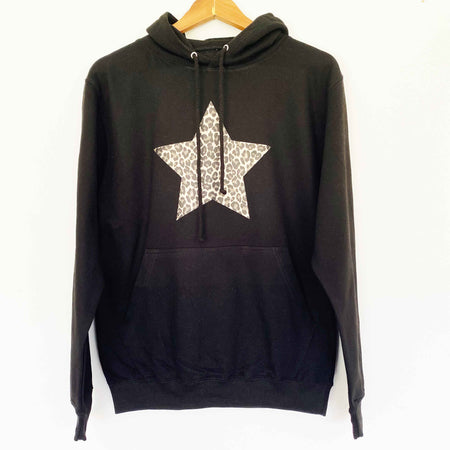 Black Hoodie Boyfriend Classic Sweat - Black/ Leopard