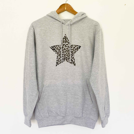Grey Hoodie Boyfriend Classic Sweat - Grey/ Leopard