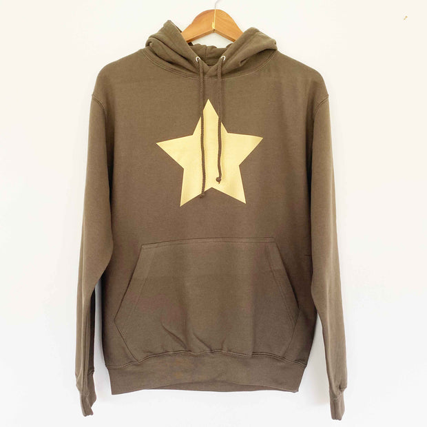 Olive Hoodie Boyfriend Classic Sweat - Olive/ Matt Gold Star