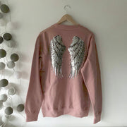 SAMPLE Sequin Angel Wings Boyfriend Fit Sweat - FADED BLACK / SILVER