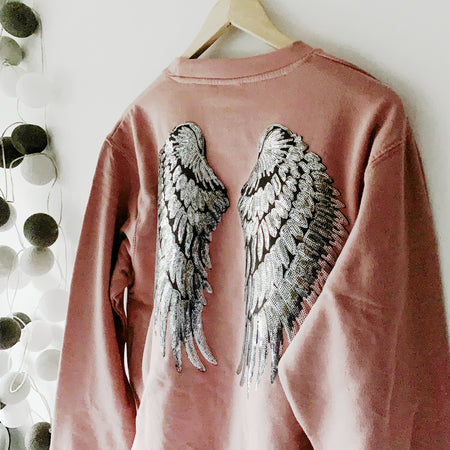 Faded Glamour Sequin Angel Wings Boyfriend Fit Sweat - Dusty Pink / Silver LTD ED