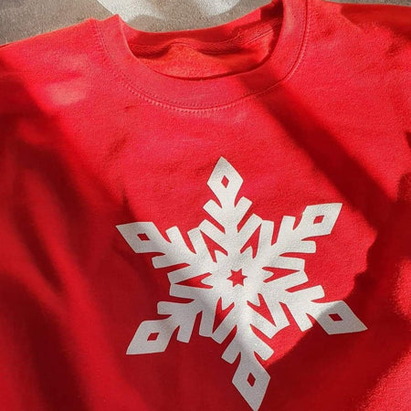 Glitter Snowflake Boyfriend Fit Sweat - Red / White Glitter