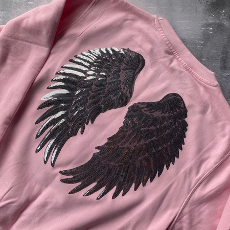 SAMPLE Angel Wings Boyfriend Fit Sweat PINK/ SILVER