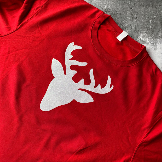 SAMPLE Glitter Reindeer Boyfriend Fit Sweat RED/ WHITE