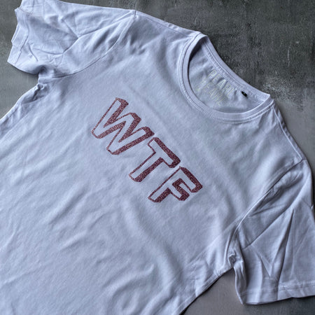 SAMPLE WTF Organic Cotton Tee WHITE/ PINK GLITTER