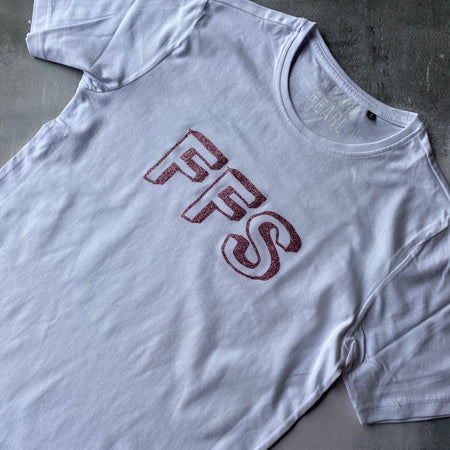 SAMPLE FFS Organic Cotton Tee WHITE/ PINK GLITTER