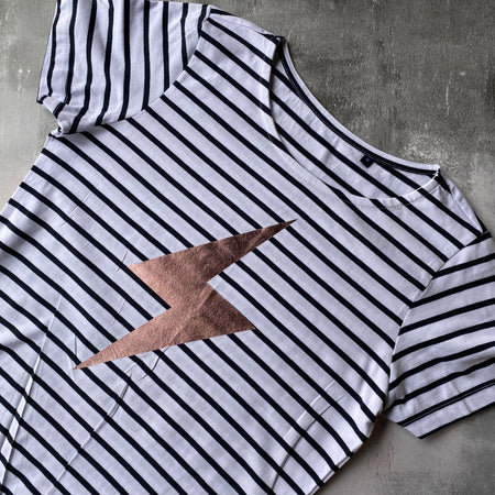 SAMPLE Organic Bolt Breton Tee WHITE/ BLUE STRIPES