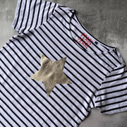 SAMPLE Organic Star Breton Tee WHITE/ BLUE STRIPES