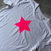 SAMPLE STAR Organic Cotton Tee WHITE/ NEON PINK