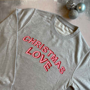 CHRISTMAS LOVE Womens Slouchy Sweat GREY/ RED & PINK