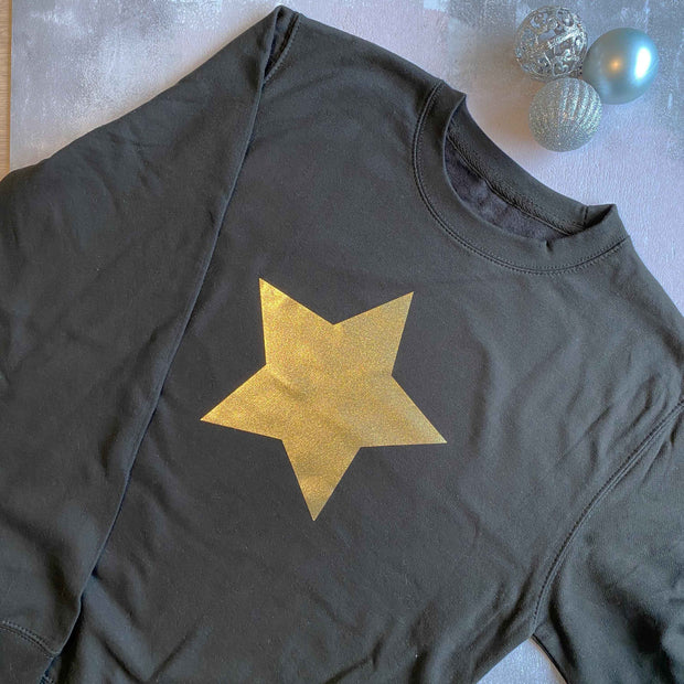 Gold Shimmer Star Womens Slouchy Sweat BLACK/ GOLD