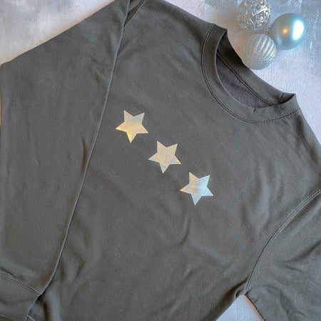Silver Shimmer Triple Stars Womens Slouchy Sweat BLACK/ SILVER
