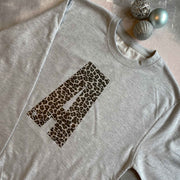 BESPOKE INITIAL Leopard Boyfriend Fit Sweat - Grey/ Leopard