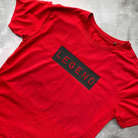 SAMPLE MENS Organic LEGEND Tee RED