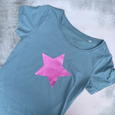 SAMPLE SPARKLE STAR Organic Cotton Tee CITADEL BLUE
