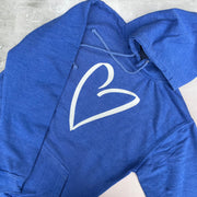 SAMPLE HEART Boyfriend Fit Hoodie - VINTAGE WASHED BLUE