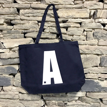 Custom Star Initial Large Canvas Tote