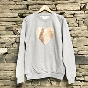 Heart Slouchy Boyfriend Classic Sweat Grey/Rose Gold
