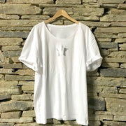 Mini Star Wideneck Oversize Jersey Tee White/Silver