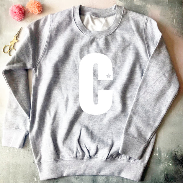 Custom Bold Letter Kids Classic Sweat Grey/White