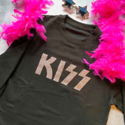 KISS Boyfriend Classic Sweat - Black/ Rose Gold Glitter