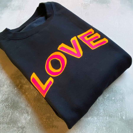 LOVE Doodle Boyfriend Fit Sweat - French Navy/ Neon
