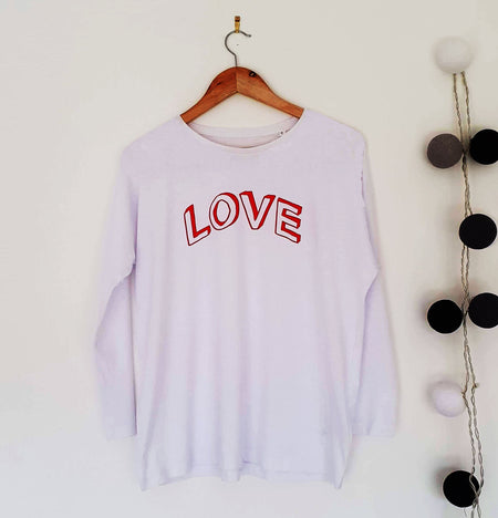 LOVE Doodle Organic Classic Ringspun Jersey Long Sleeve Tee - White/Red