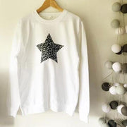 Leopard Star Boyfriend Classic Sweat - White/Grey