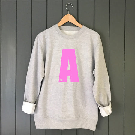 Star Custom Letter Boyfriend Fit Slouchy Sweat Grey / Pink