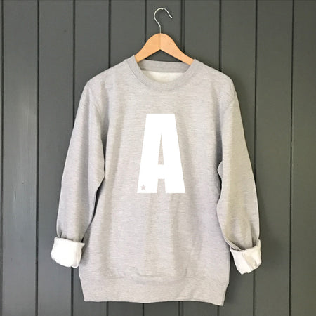 Star Custom Letter Boyfriend Fit Slouchy Sweat Grey / White