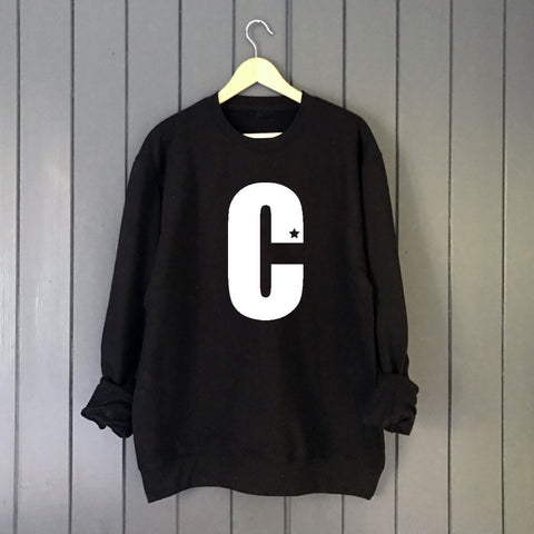 Star Custom Letter Boyfriend Fit Slouchy Sweat  Black/White