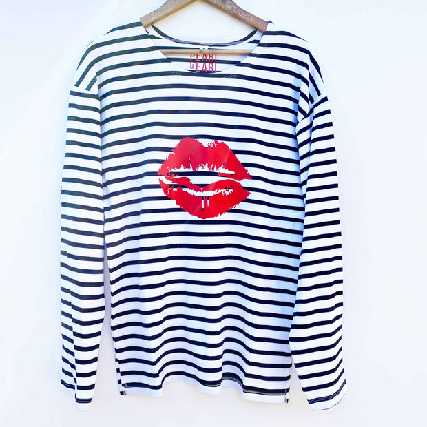 Breton 100% Organic Cotton 'Lips' Long Sleeve Tee - White & Blue Stripe / Red