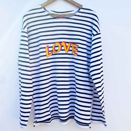 Breton 100% Organic Cotton 'LOVE' Long Sleeve Tee - Stripe/ Yellow/Red