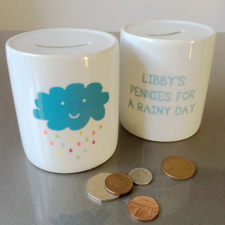 Rainy Day Personalised Name Money Box