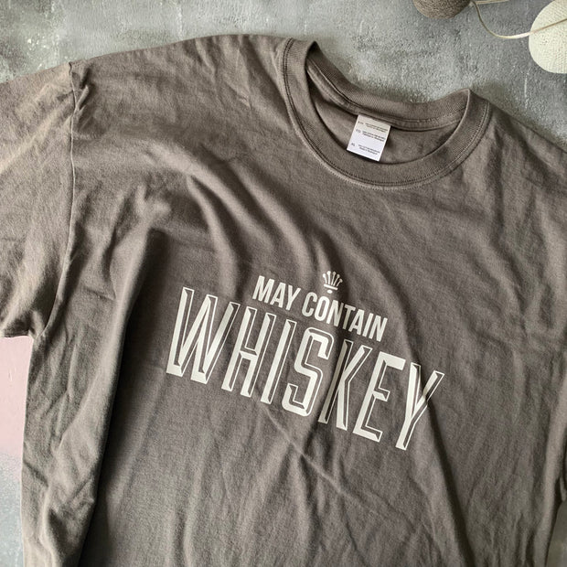SAMPLE SALE May Contain Whiskey Unisex Tee Chr / White