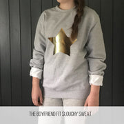 Metallic Star Boyfriend Fit Slouchy Sweat Black / Gold
