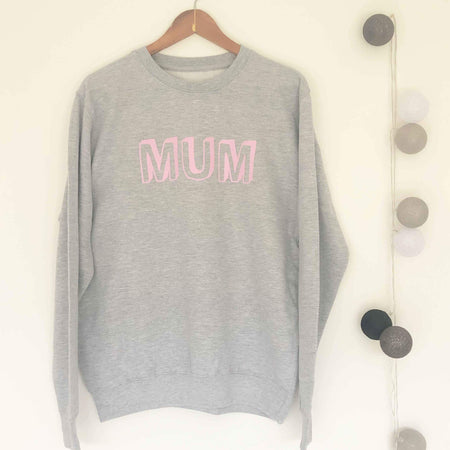 MUM Boyfriend Fit Sweat - Grey/Pink