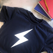 SAMPLE SALE - Lightening Flash Organic Tee - Navy/ White