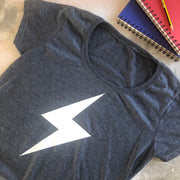 SAMPLE SALE - Lightening Flash Organic Tee - Blue Marl/ White