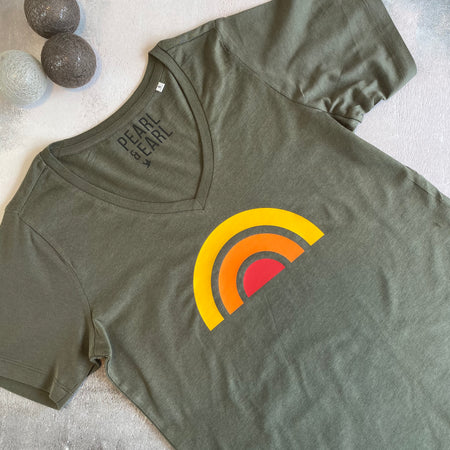 RETRO RAINBOW 100% Organic Cotton V Neck Tee - Olive