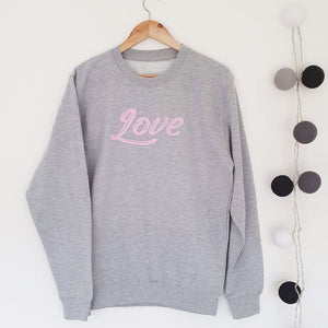 LOVE Boyfriend Fit Sweat - Grey/Pink