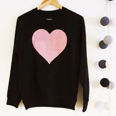 Glitter Heart Boyfriend Fit Sweat - Black / Dusky Pink Glitter