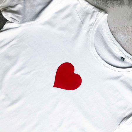 Heart Organic Classic Ringspun Jersey Tee - White / Red