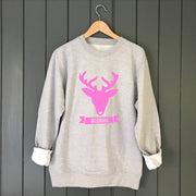 Reindeer Neon Custom Kids Christmas Jumper Sweat