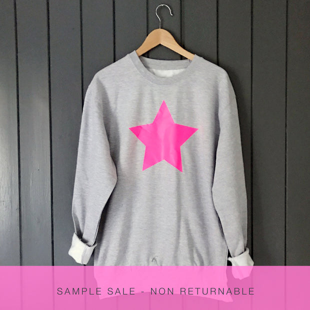 SAMPLE SALE - Star Sweat - Grey Marl with Neon Pink