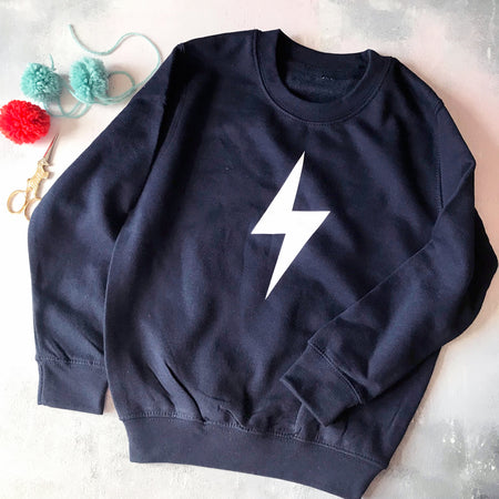 Bolt Lightening Childrens Classic Sweat - Navy/White