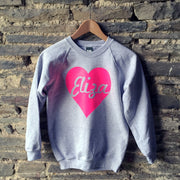 Heart Swirl Name Neon Initial Custom Kids Sweat Grey/Pink