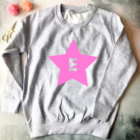 Star Initial Custom Kids Sweat Grey/Pink
